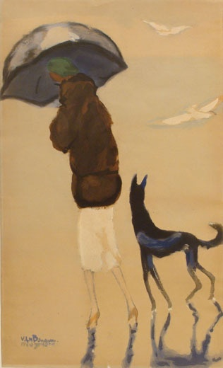 Woman with a Dog on the Beach by Kees van Dongen