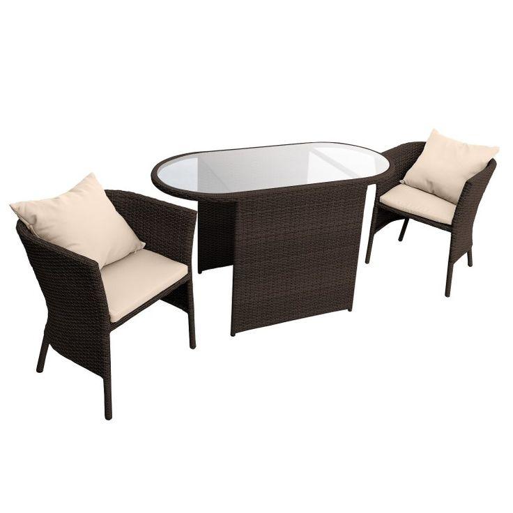 anndora Polyrattan Balkonset braun 2 Sessel Kissen + Tisch Lounge 2 er Set