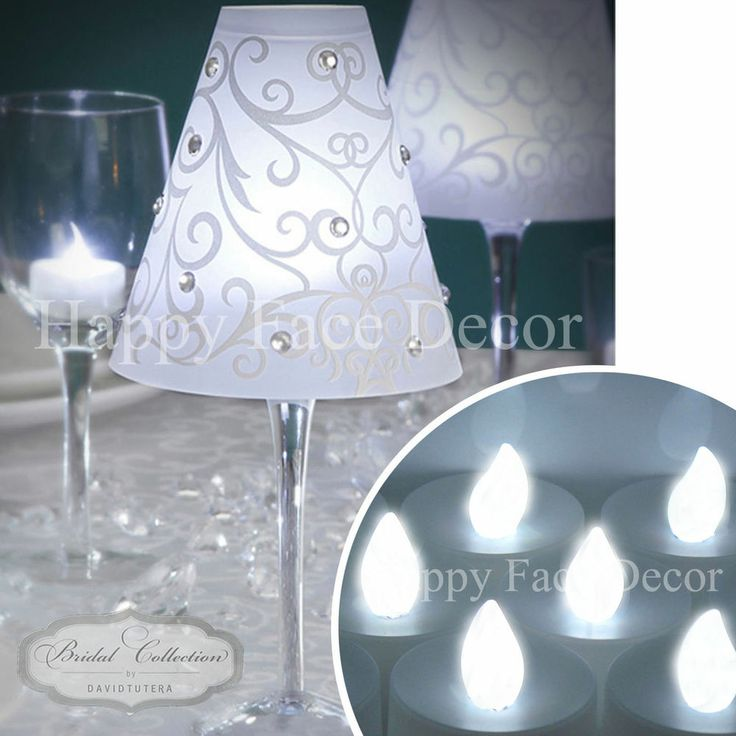 12 WINE GLASS SHADES + 12 WHITE LED TEA LIGHTS Candle Table Decor WEDDING PARTY