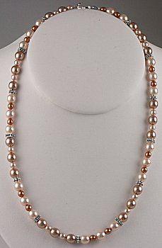 Make w/ copper & white pearls w/ silver spacers.