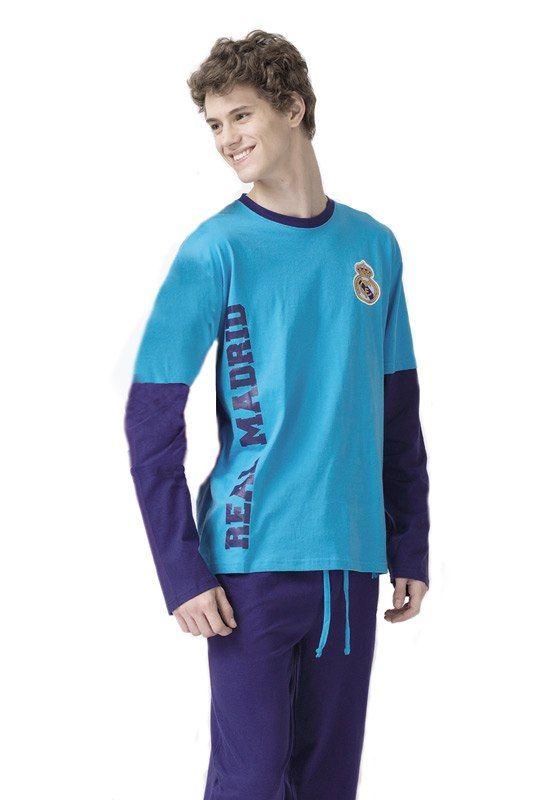 Pijama Oficial del Real MAdrid, en color azul y en punto de algodón, nada grueso, para un uso continuado de todo el año. Precio: 34,95€. Envío 24/48h.