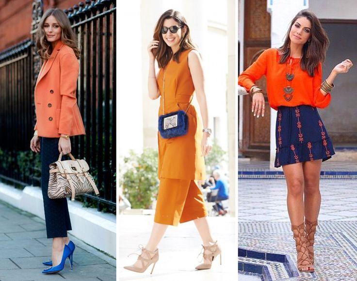 f4734db6a88 Looks com combinação de cor complementar  laranja e