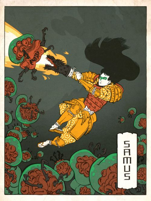 Ukiyo-e style Samus Aran by Jed Henry.Wood Block, Japanese Art, Japanese Prints, Japan Prints, Videos Games, Japan Art, Woodblock Prints, Games Character, Video Games