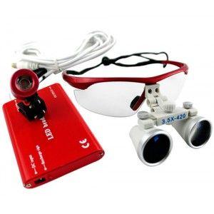 Marvelous New Red X Dental Surgical Binocular Loupes Dentist mm LED Light Lamp