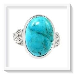 ***ENCHANTING***  NATURAL SLEEPING BEAUTY TURQUOISE,  GEMSTONE SOLID .925 SILVER RING SIZE 8