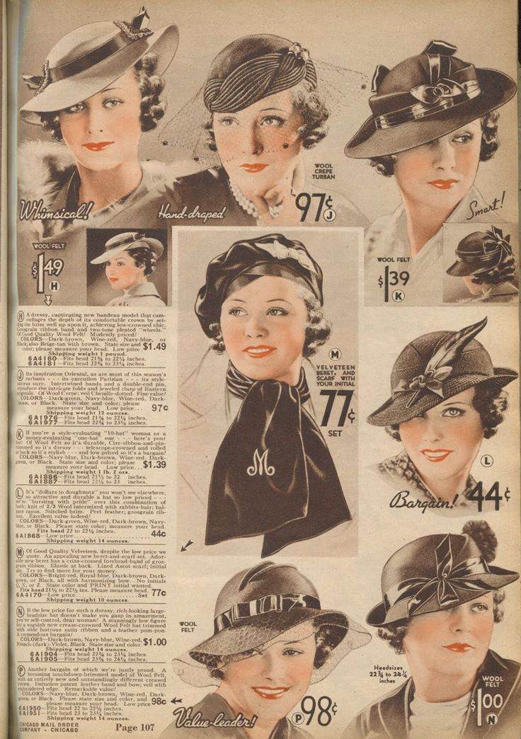 1930s hats - Chicago Mail Order Co.