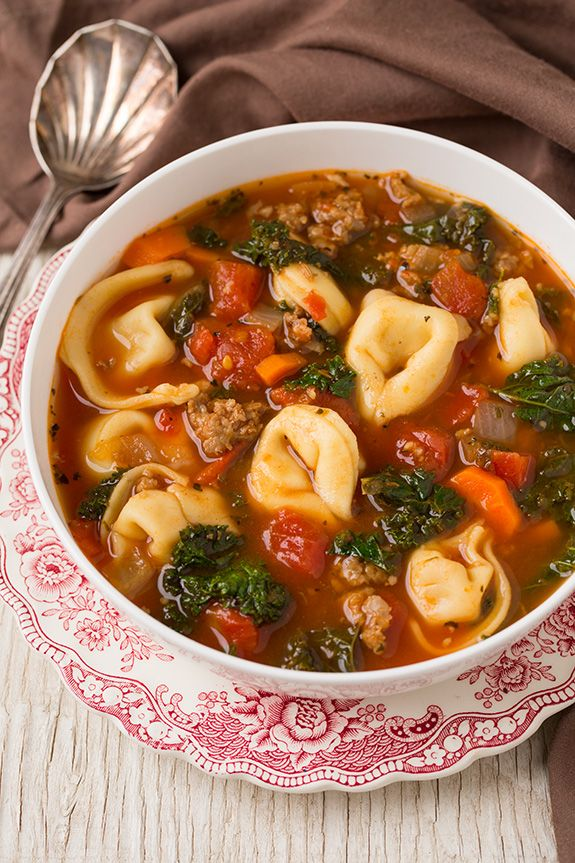 Italian Sausage, Kale and Tortellini Soup | Cooking Classy  I could make this with TJ's faux Italian Sausage and mushroom broth