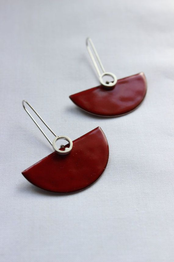 Deco earrings Sterling silver and copper with red enamel, dangle earrings in red color, semicircular shape, cocktail earrings