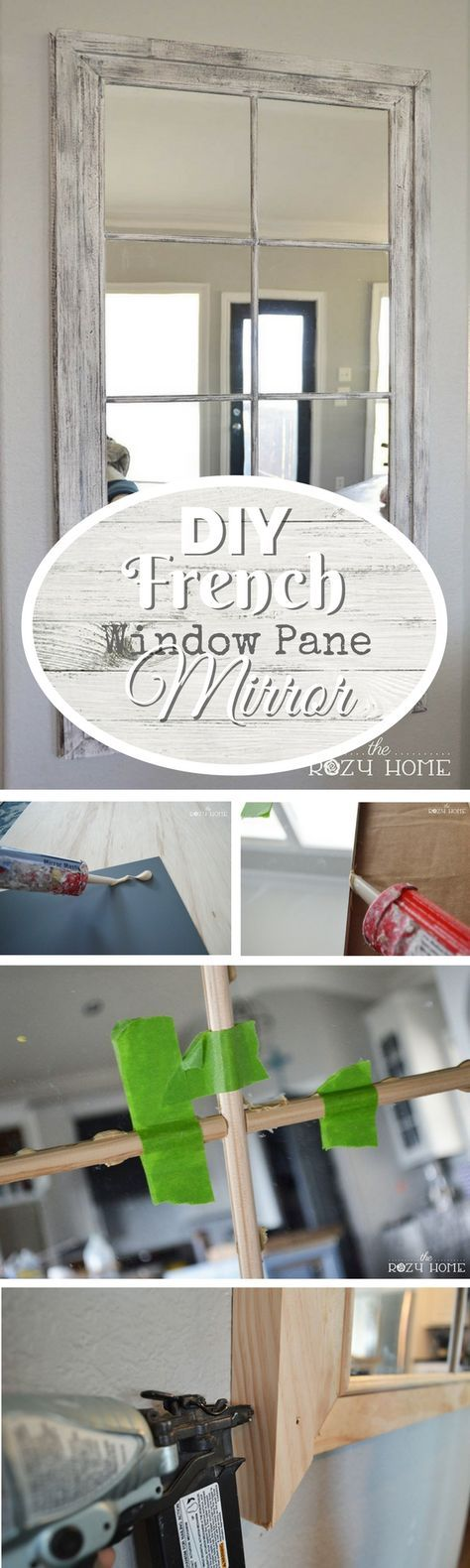 Check out how to make this DIY French window pane mirror @istandarddesign