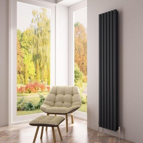 The Milano Aruba Ayre - Anthracite Grey - A stunning vertical designer radiator to transform your home's heating - http://www.bestheating.com/milano-aruba-ayre-aluminium-anthracite-vertical-designer-radiator-1800-x-350.html