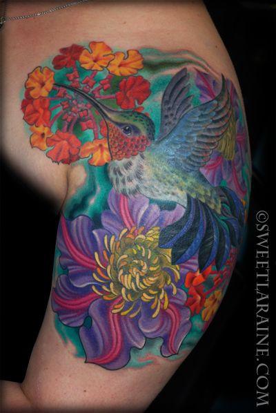 Kolibri Tájkép váll tetoválás Édes Laraine tetoválás