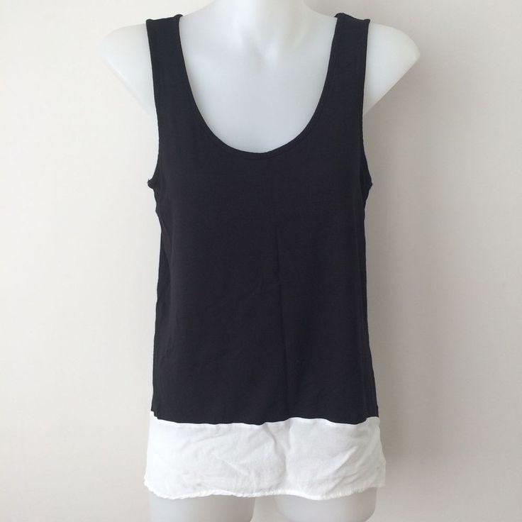 WITCHERY Black Tank Top White Chiffon Trim Size XS Casual Work Basic Sleeveless  | eBay