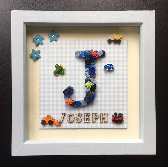 """9x9 Bedroom: 9x9"""" Box Frame With A Personalised Button Initial Design"""