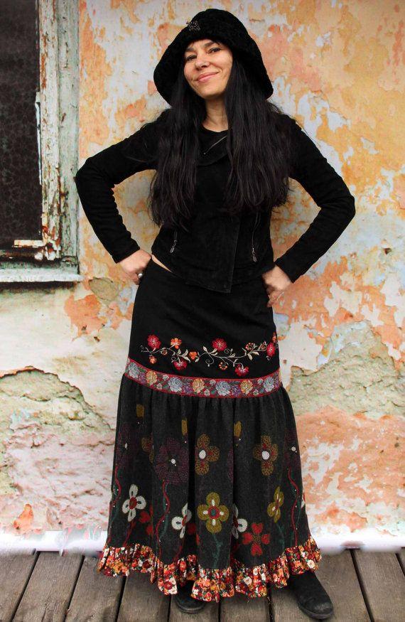 Folk Art L brodé fantaisie recyclés jupe longue par jamfashion