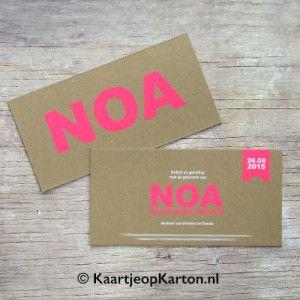Kaartje op Karton - zeefdruk-geboortekaartje-meisje-letterpress-stijl-neon-fluor-roze-bruin-typografie-noa
