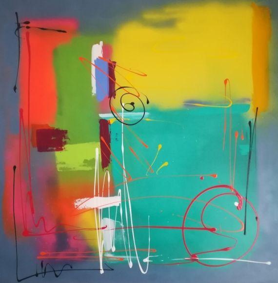 Tableau Peinture Abstrait Acrylique Hello Colors Numero 2