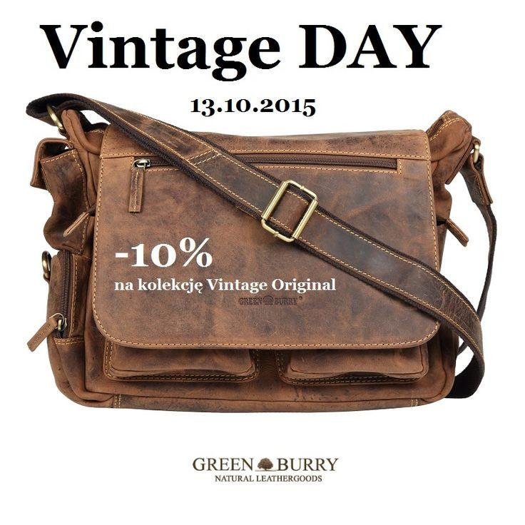 Vintage DAY 13.10.2015 10% rabatu na zakupy z kolekcji Vintage Original Greenburry. Zapraszamy na zakupy: http://www.greenburry.pl/pl/c/VINTAGE-ORIGINAL/63  #vintage #vintageoriginal #Greenburry #rabat #vintageday