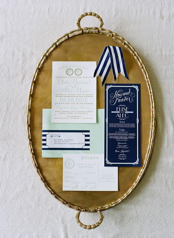 navy and mint wedding invitations, photo by Josh Gruetzmacher http://ruffledblog.com/santa-rosa-winery-wedding #stationery #weddinginvitations #invitations