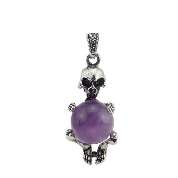 Amethyst Skull Pendant  Necklace - Boho Pendant #jewelry #necklace @EtsyMktgTool http://etsy.me/2C9Qqn7 #skullpendant #pendant #necklace