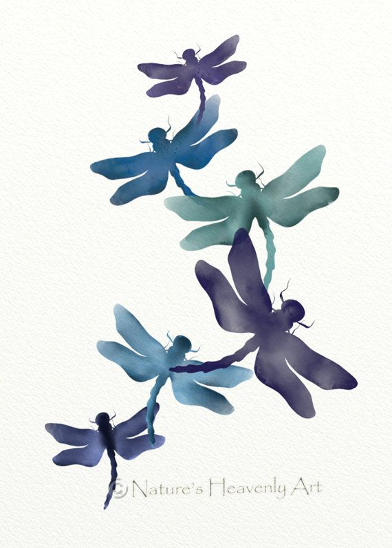 watercolor dragonfly    Purple Blue Dragonfly Print, Nature Wall Art, Watercolor Art, Insect 5 ...