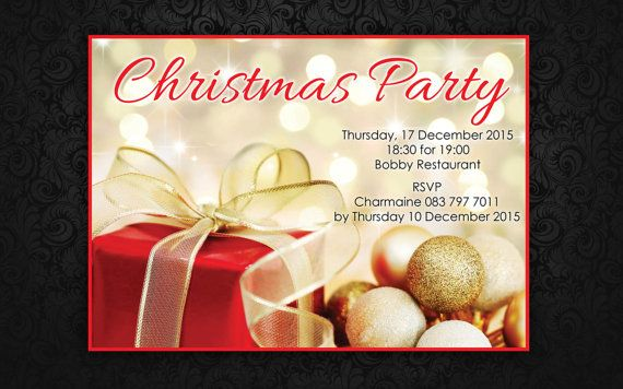Christmas Party Invitation by LadyJaneDesign on Etsy