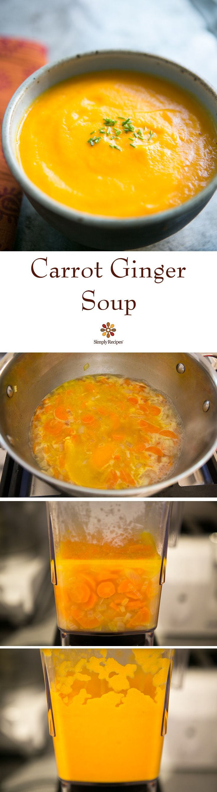 Carrot Ginger Soup ~ Smooth carrot soup with ginger, orange and chicken stock. So easy and healthy too! ~ SimplyRecipes.com