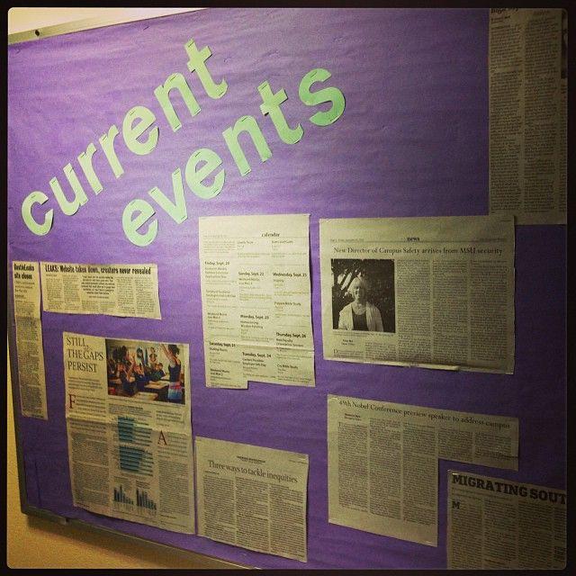 Current Events bulletin boards to encourage residents to be active citizens!