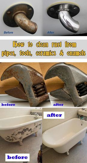 Learn how to clean rust from pipes, tools, ceramics and enamels.