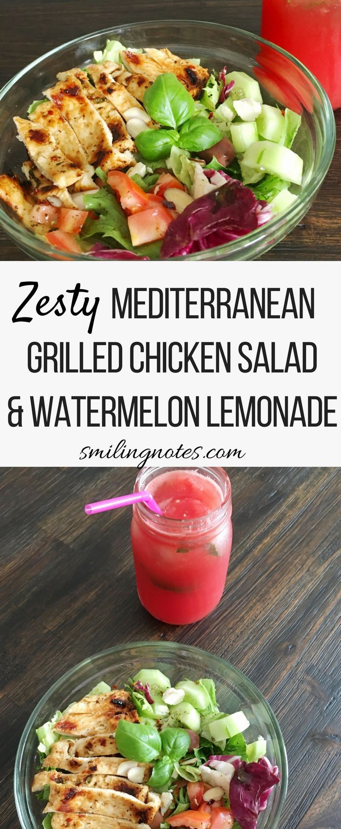 Zesty Mediterranean Grilled Chicken Salad and watermelon lemonade - This Zesty Mediterranean Grilled Chicken Salad is a perfectly delicious meal and surprisingly simple to make. Pair it with a delicious watermelon lemonade and mealtime just got super delicious #ExperienceScrubDots #ad