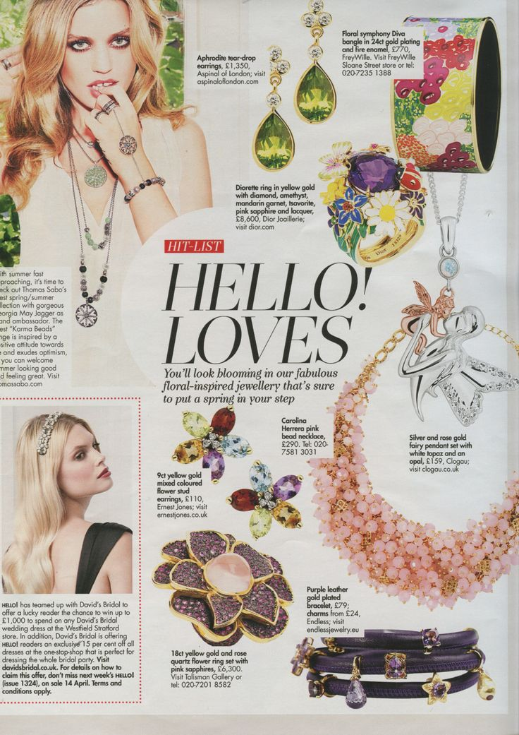 Our Fairy pendant featured in April 2014 Hello! Loves jewellery special