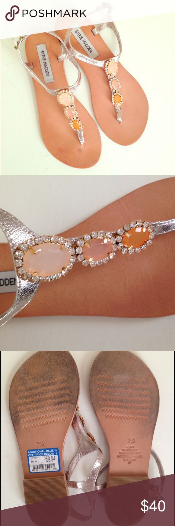 Steve Madden Flat Sandals Flat sandal with champagne gold straps and peach colored jewels. Worn for an event but in good shape (see photos). Steve Madden Shoes Sandals