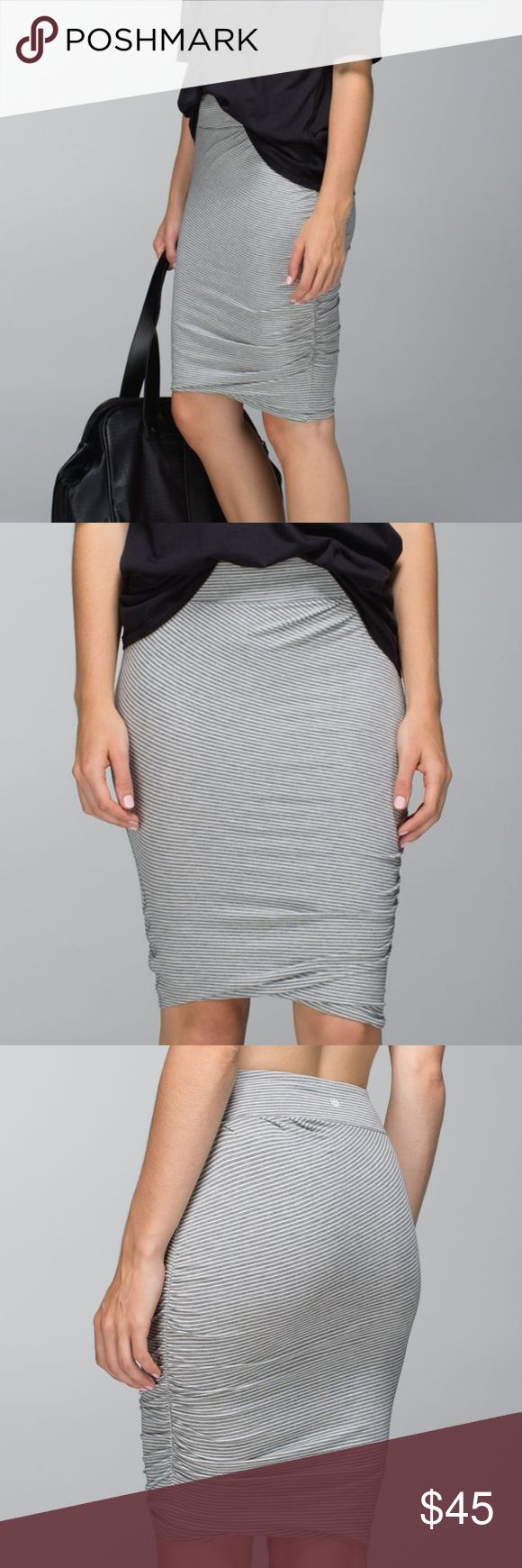 """Lululemon Anytime Skirt Lululemon Anytime Skirt Color """"Hyper Stripe Heathered Medium Grey Ghost"""" Ruching at the hem Slim pencil fit Hidden waistband pocket Minuscule hole on the waistband Body: 70% pima cotton, 24% lyocell seacell, 6% lycra spadex  Measurements (approximate): Waist: 10.5"""" Length: 20.5""""  No trades. Offers welcome! lululemon athletica Skirts Mini"""