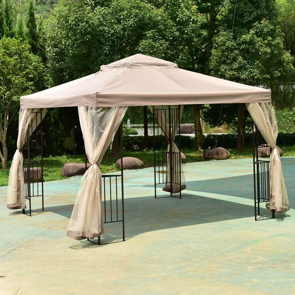 Costway Outdoor 10 X10 Gazebo Canopy Shelter Awning Tent Patio Garden Gazebo 10x10 Gazebo Gazebo Canopy