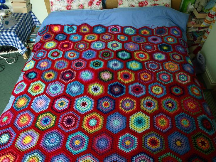 Happy Hexagon Blanket – still in progress   Little Tin Bird- Inspiration.  Hexagon pattern