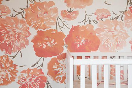 pretty hand painted nursery wall