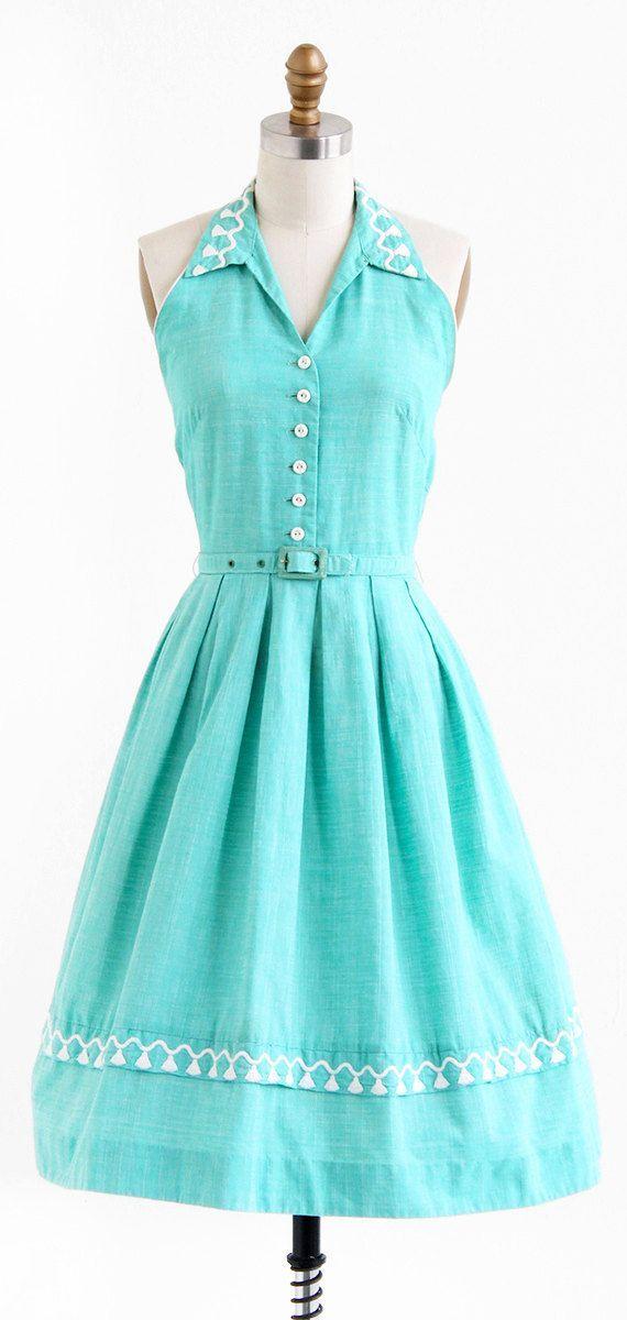 vintage 1950s dress / 50s dress / Mint Green by RococoVintage