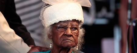 Jeralean Talley attends church as she celebrates her 114th birthday, making her the oldest living person in America, in Inkster, Michigan May 26, 2013. (REUTERS/Rebecca Cook)