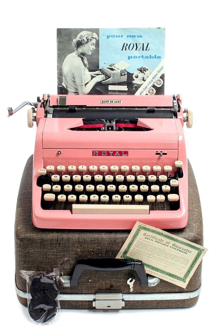 1957 Pink Royal Quiet DeLuxe Typewriter with Original Case and Manual / Vintage Metal Ribbon Spools / Extra Ribbon by Retroburgh on Etsy https://www.etsy.com/listing/214743273/1957-pink-royal-quiet-deluxe-typewriter