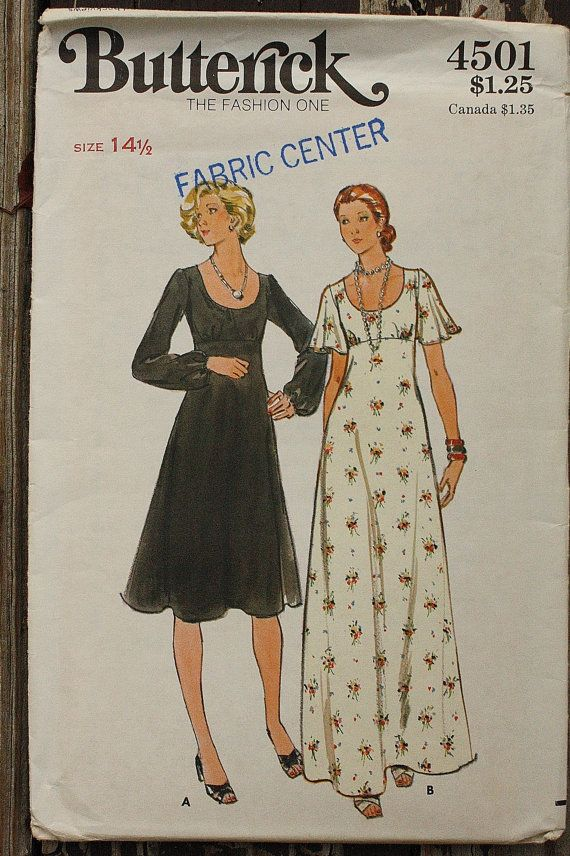 Butterick 4501 1970s 70s Scoop Neck Midi Maxi by EleanorMeriwether