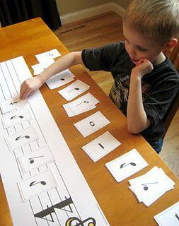 music note printables (juego para ver que combinaciones de notas caben en un compas).
