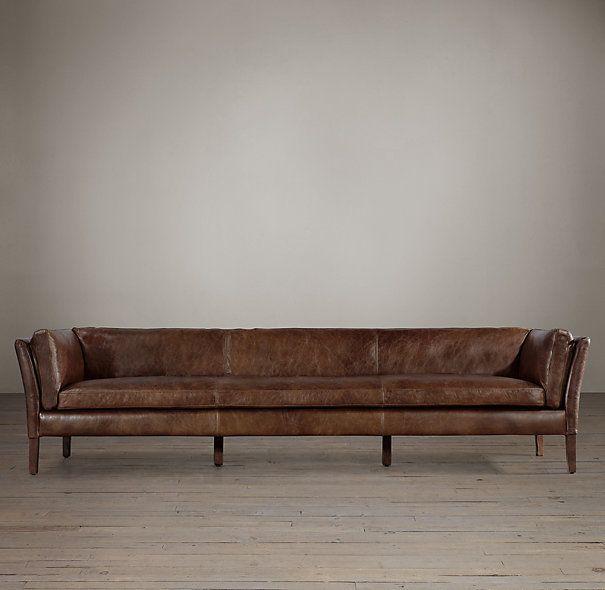 Sorensen leather sofas restoration hardware 14 color for Small sectional sofa restoration hardware