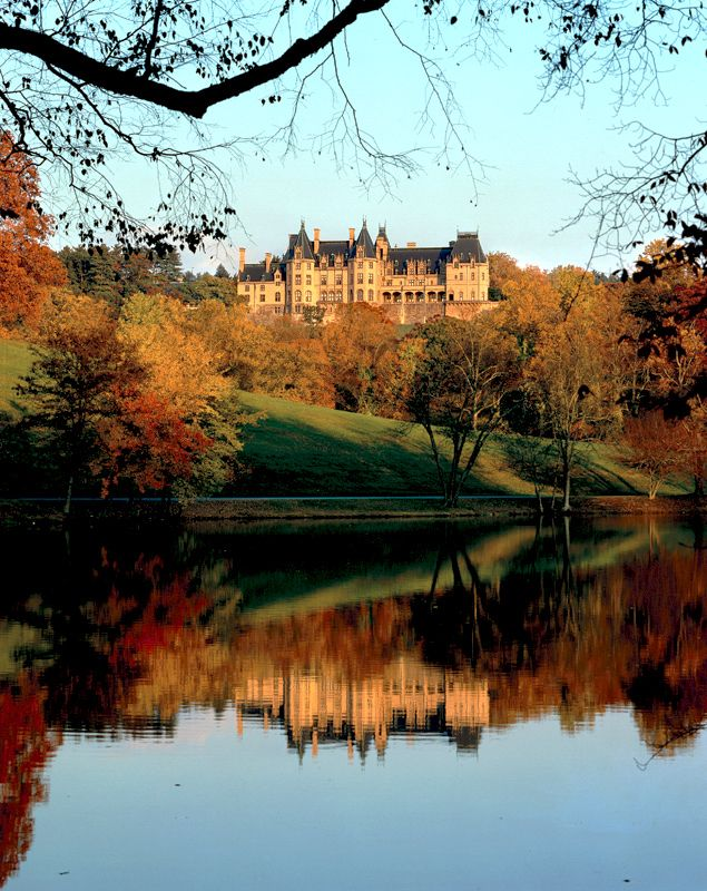 Fall Color at the Biltmore Estate ... view of the back of the Biltmore House - Asheville, NC.