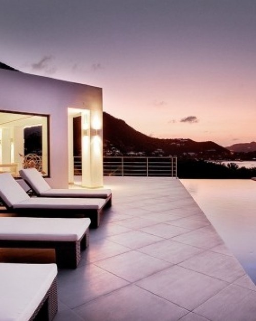 The upper-level pool is a long, narrow affair lined with lounge chairs. #Jetsetter #JSIslandTime: Lap Pools, Lounges Chairs, Avenstar St., Jetsett Pin, St. Barth, Barth Property, St. Barts, Bart Villas, Villas Avenstar
