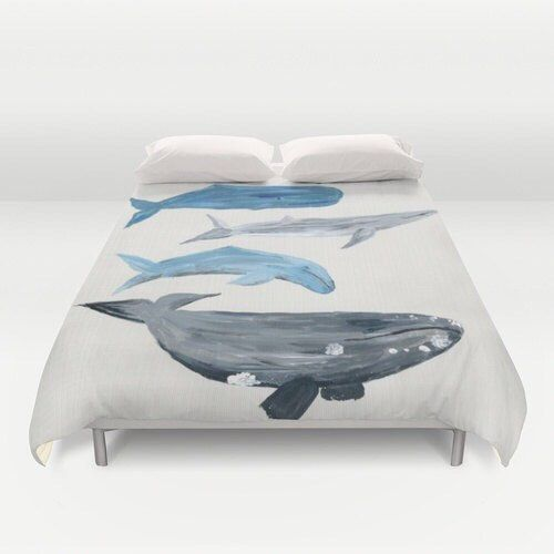 This is a duvet cover with my whale painting printed on it. <> I can change the background color. If you would like another color, just send me a message. Please choose your size in the drop down menu above: Full (79x79), Queen (88x88) or King (104x88).  <> A twin size is available here:  https://www.etsy.com/listing/476126127/whale-twin-duvet-cover-nautical-duvet?ref=shop_home_active_1  <> About the duvet cover:  - Made of ultra soft microfiber...