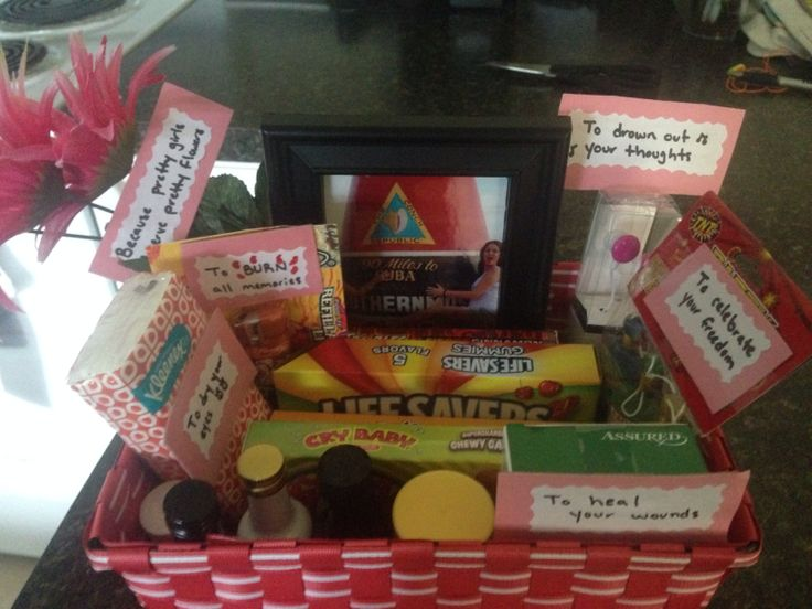 DIY breakup kit I made this for my friend after she broke up w/ her bf of 3 years. It had headphones,lighter,tissues,alcohol bottles,pic frame,flowers and streamers. I glued msgs to cardboard and taped on each item. I put candies with special msgs like, u r a HOT TAMALES , don't b a CRYBABY , he was just a MILK DUD, here r some LIFESAVERS.