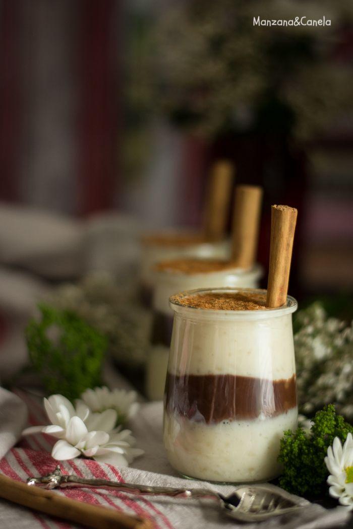 Arroz con leche y chocolate sin azúcar refinado. Receta con y sin Thermomix