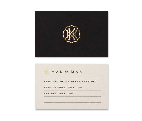 Logo and gold foil business card for on-line art, design, architecture and photography journal Mal de Mar designed by Face