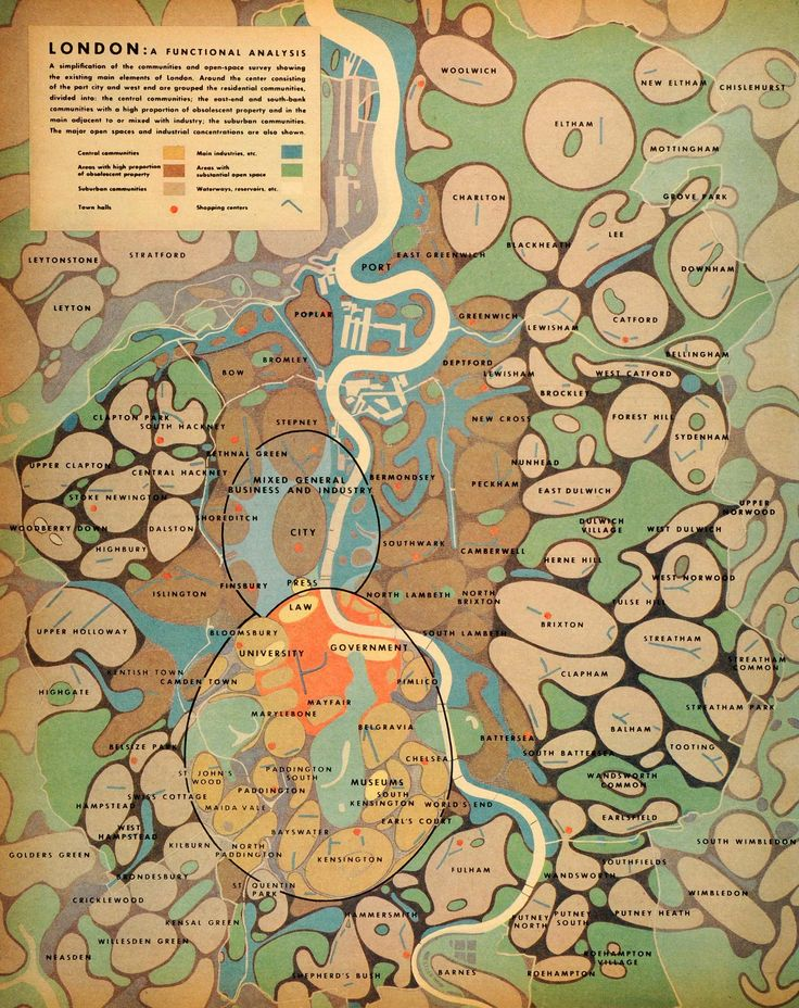 """""""London: a functional analysis"""" from Patrick Abercrombie's post-war urban planning, 1944"""