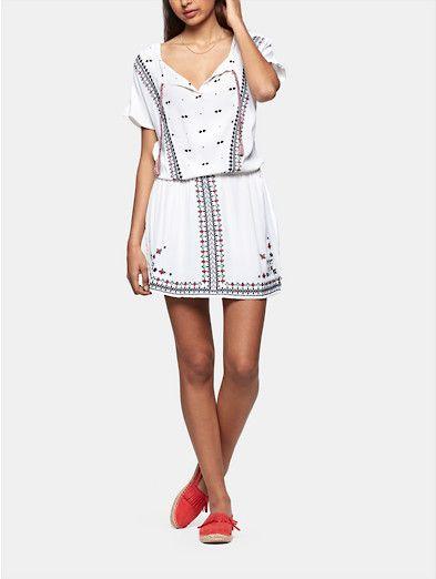 zomerse jurk met borduursel offwhitewit