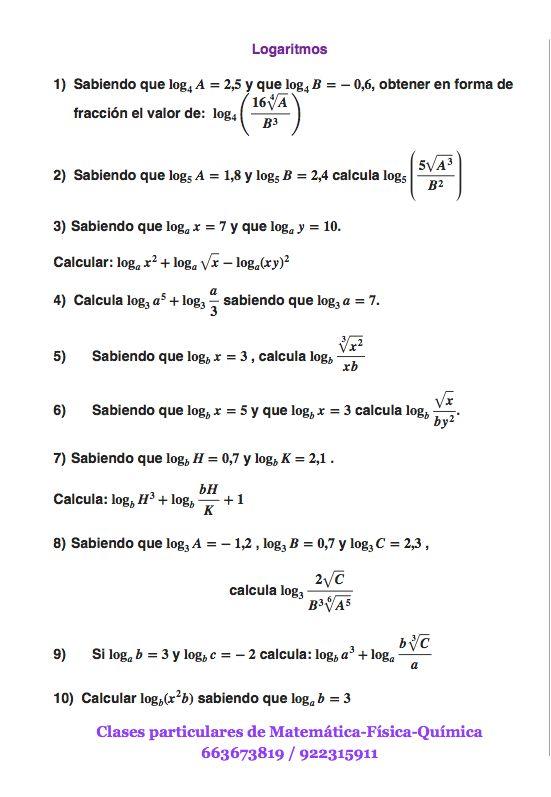 Ejercicios de logaritmos tipo examen 1º Bachiller, parte 1